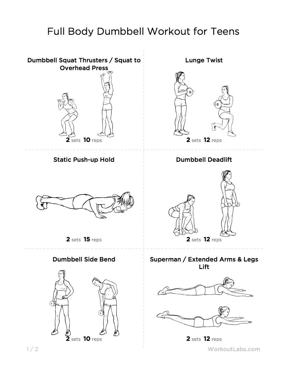 Full Body Dumbbell Workout For Teens W1