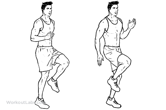 High knees front knee lifts illustrated exercise guide workoutlabs ccuart Image collections