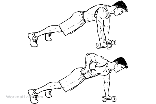 renegade    alternating plank    commando rows
