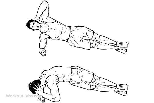 Side Plank Rotations Elbow Twists Workoutlabs Exercise Guide