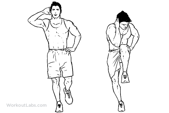 Standing Cross Body Crunch Illustrated Exercise Guide
